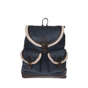 Monbeki Leer Backpack Blauw / Beige Kleppen-0