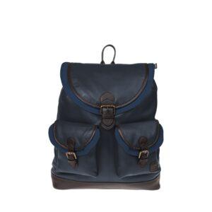 Monbeki Leer Backpack Blauw / Blauwe Kleppen-0