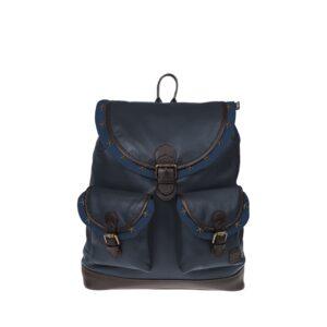Monbeki Leer Backpack Blauw / Blauwe Kleppen met Studs