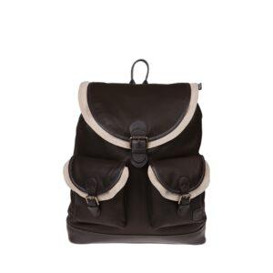 Monbeki Leer Backpack Bruin / Beige Kleppen-0