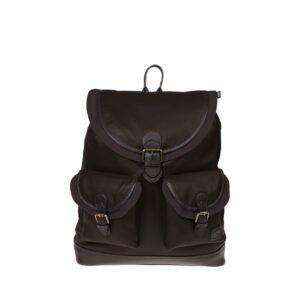 Monbeki Leer Backpack Bruin / Bruine Kleppen-0
