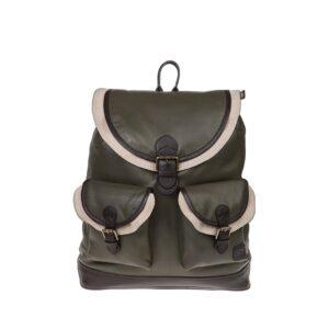 Monbeki Leer Backpack Groen / Beige Kleppen-0