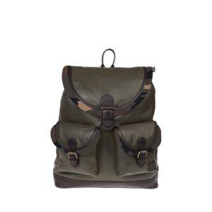 Monbeki Leer Backpack Groen / Camo Kleppen