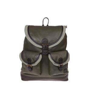Monbeki Leer Backpack Groen / Groene Kleppen