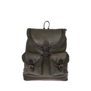 Monbeki Leer Backpack Groen / Groene Kleppen met Studs