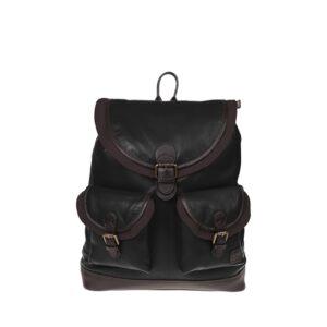 Monbeki Leer Backpack Zwart / Bruine Kleppen-0
