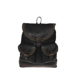 Monbeki Leer Backpack Zwart / Groene Kleppen-0