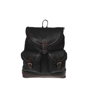 Monbeki Leer Backpack Zwart / Zwarte Kleppen-0
