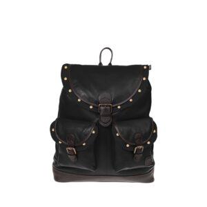 Monbeki Leer Backpack Zwart / Zwarte Kleppen met Studs