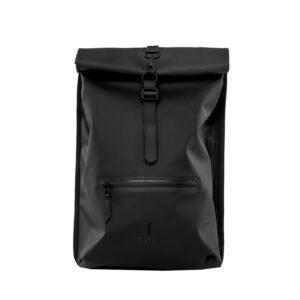 RAINS Roll Top Backpack Black-0
