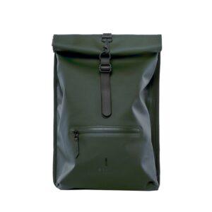 RAINS Roll Top Backpack Green-0