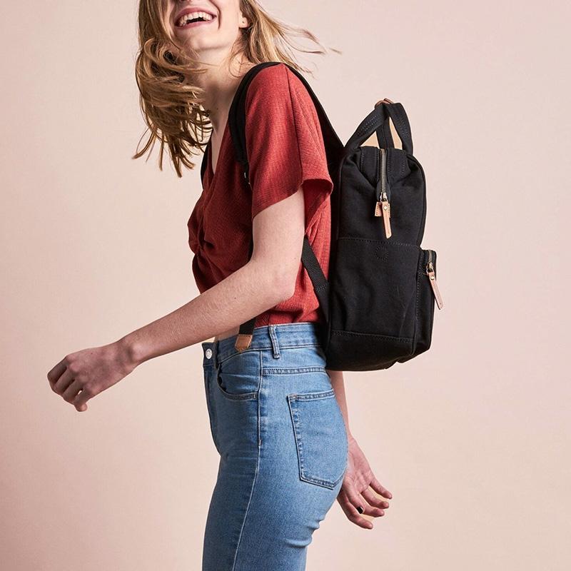 O My Bag Billie's Backpack Black Waxed Canvas-161801