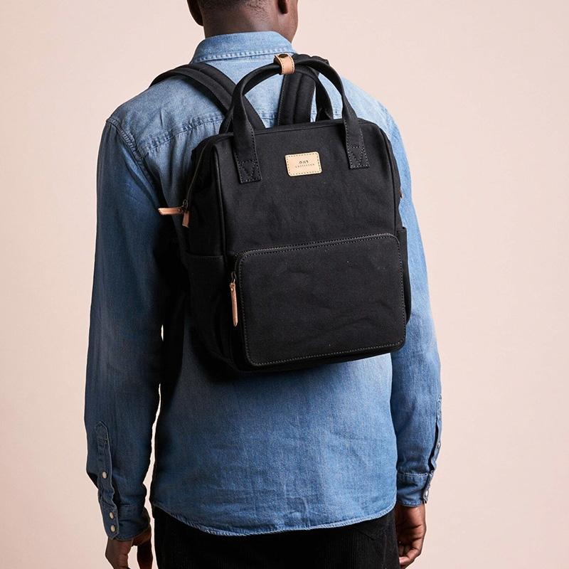 O My Bag Billie's Backpack Black Waxed Canvas-161802