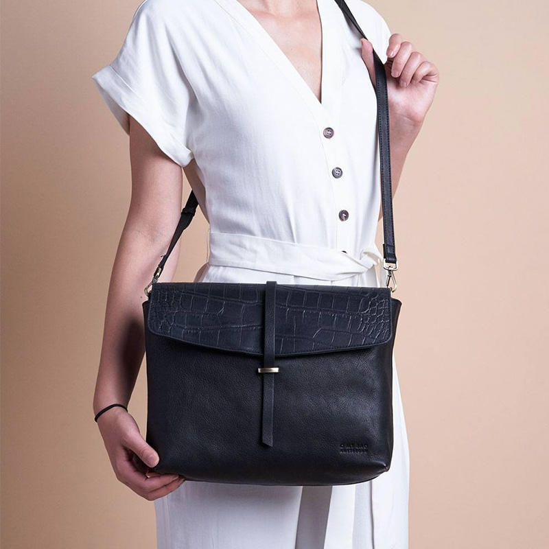 O My Bag Ella Black/Croco Soft Grain Leather-162935