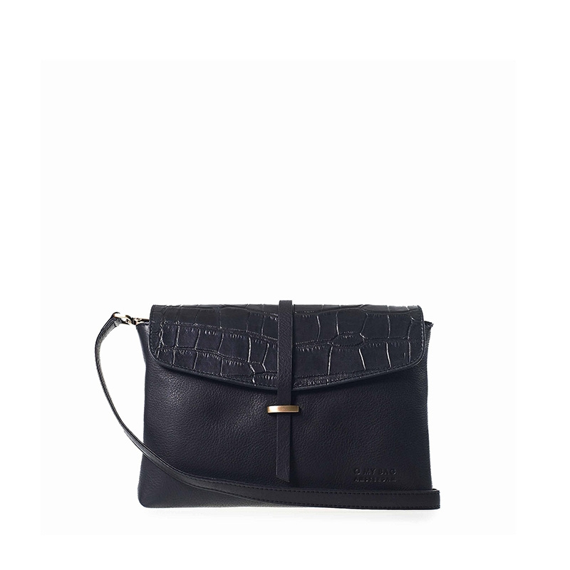 O My Bag Ella Midi Black/Croco Soft Grain Leather-0