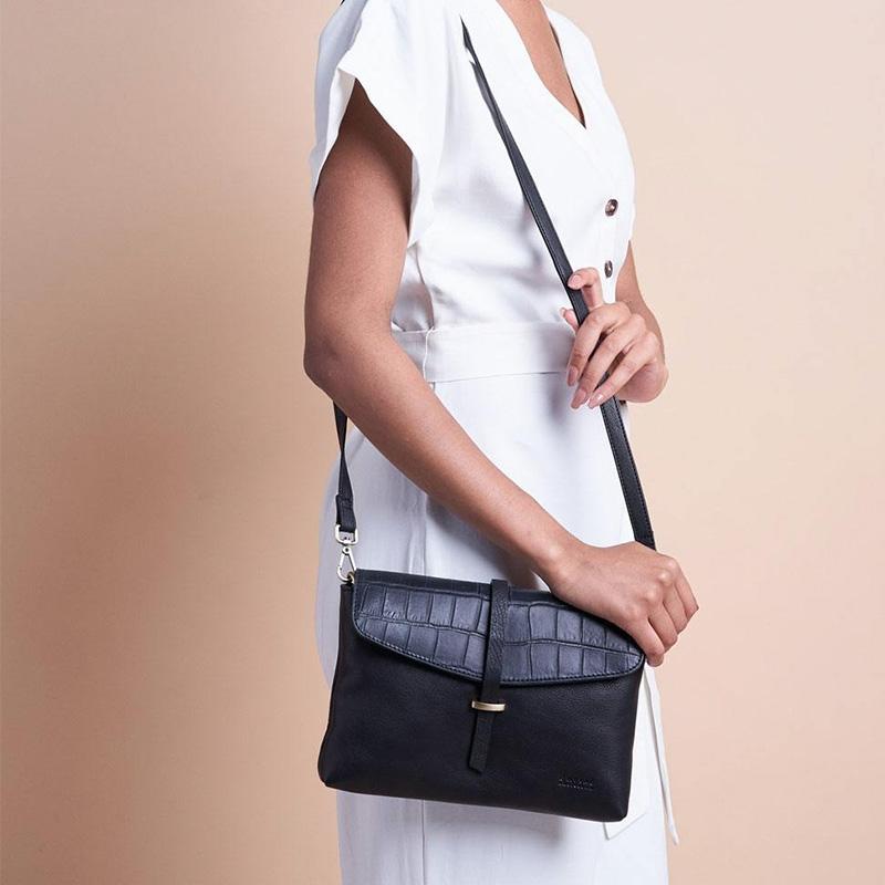 O My Bag Ella Midi Black/Croco Soft Grain Leather-162925