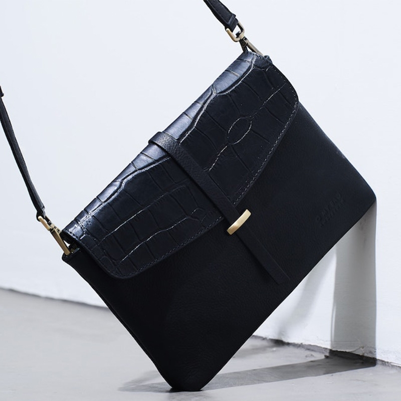 O My Bag Ella Midi Black/Croco Soft Grain Leather-162926