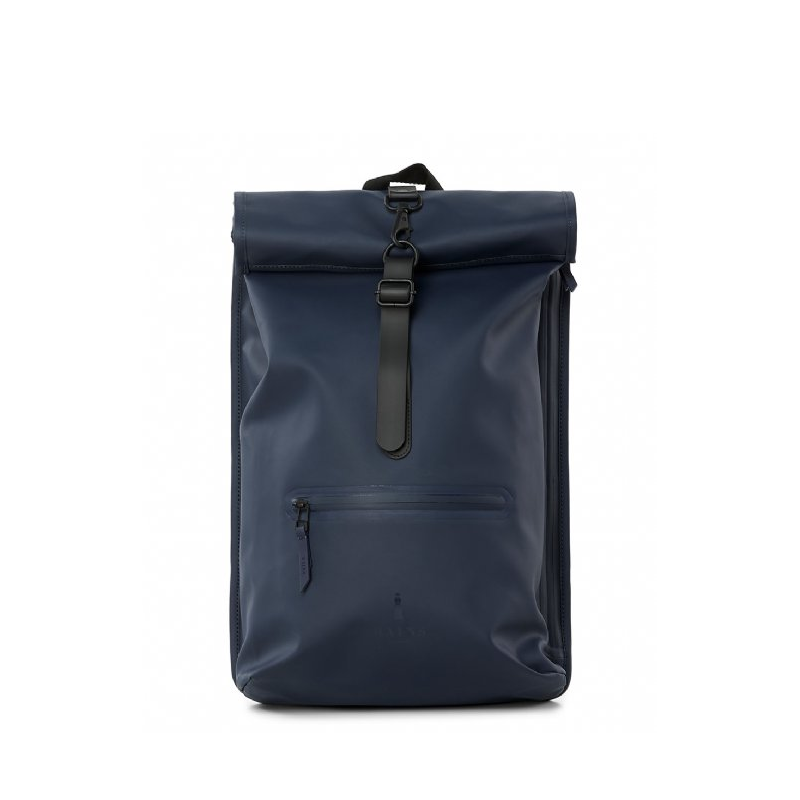 RAINS Roll Top Backpack Blue-0