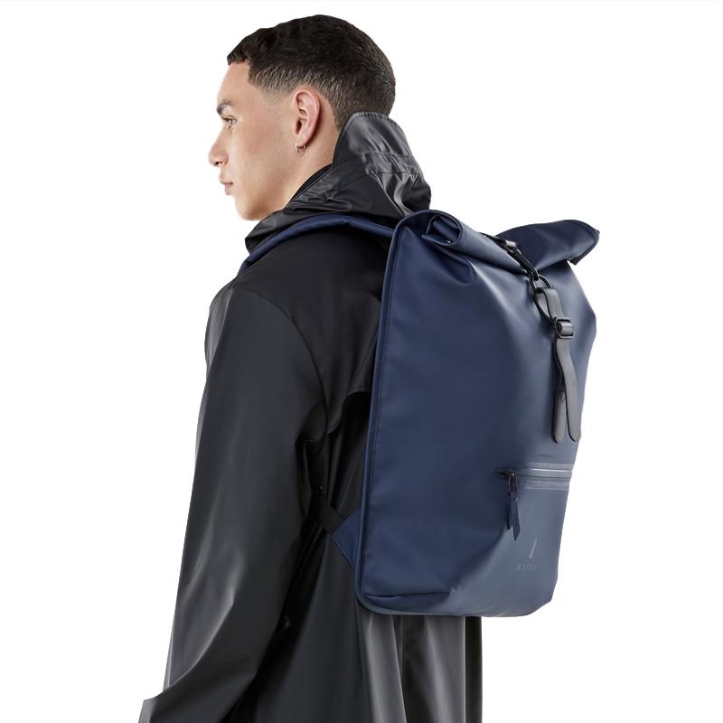 RAINS Roll Top Backpack Blue-165863