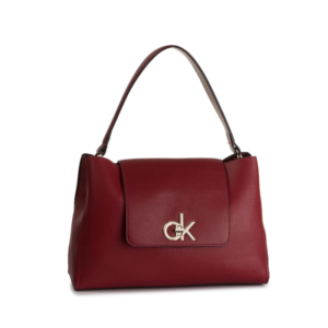 Calvin Klein Re-Lock Top Handle Satchel Red-0