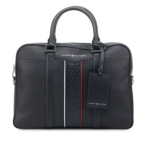Tommy Hilfiger Leather Computer Bag Strip Sky Captain-0
