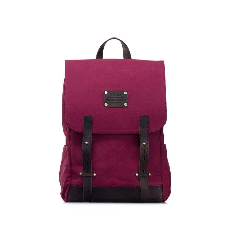 O My Bag Mau's Backpack Burgundy Waxed Canvas-0