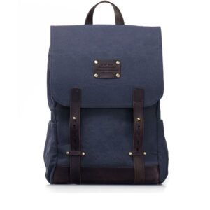 O My Bag Mau's Backpack Navy Waxed / Dark Brown Hunter-0