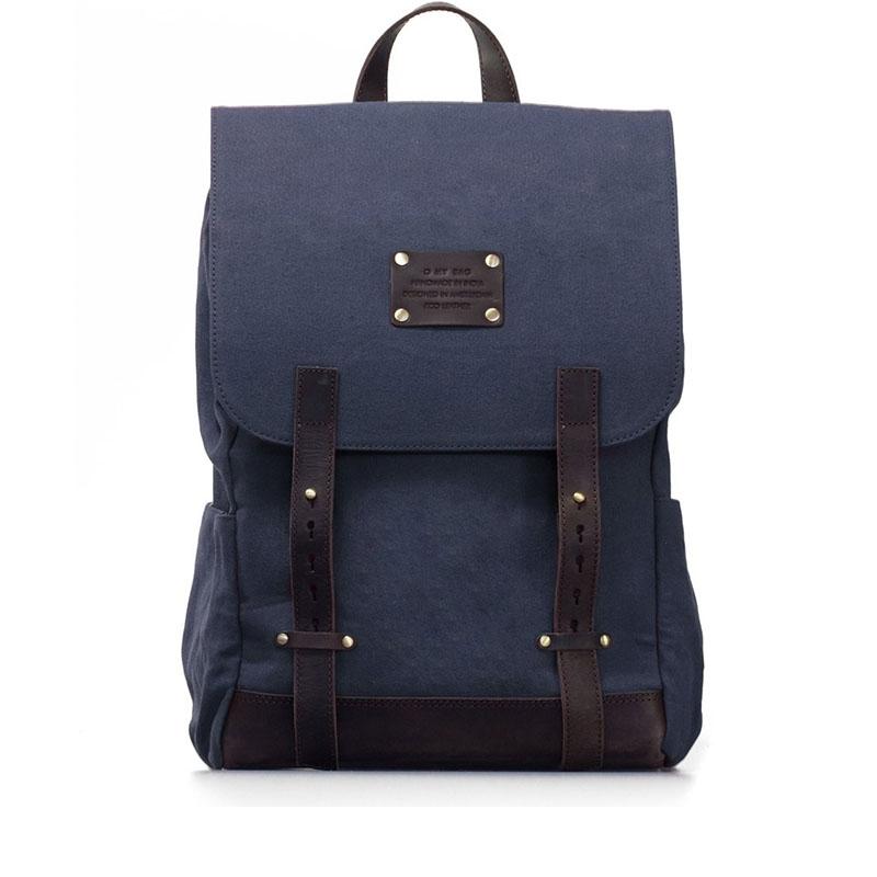 O My Bag Mau's Backpack Navy Waxed / Dark Brown Hunter-0