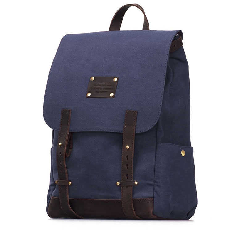 O My Bag Mau's Backpack Navy Waxed / Dark Brown Hunter-179147