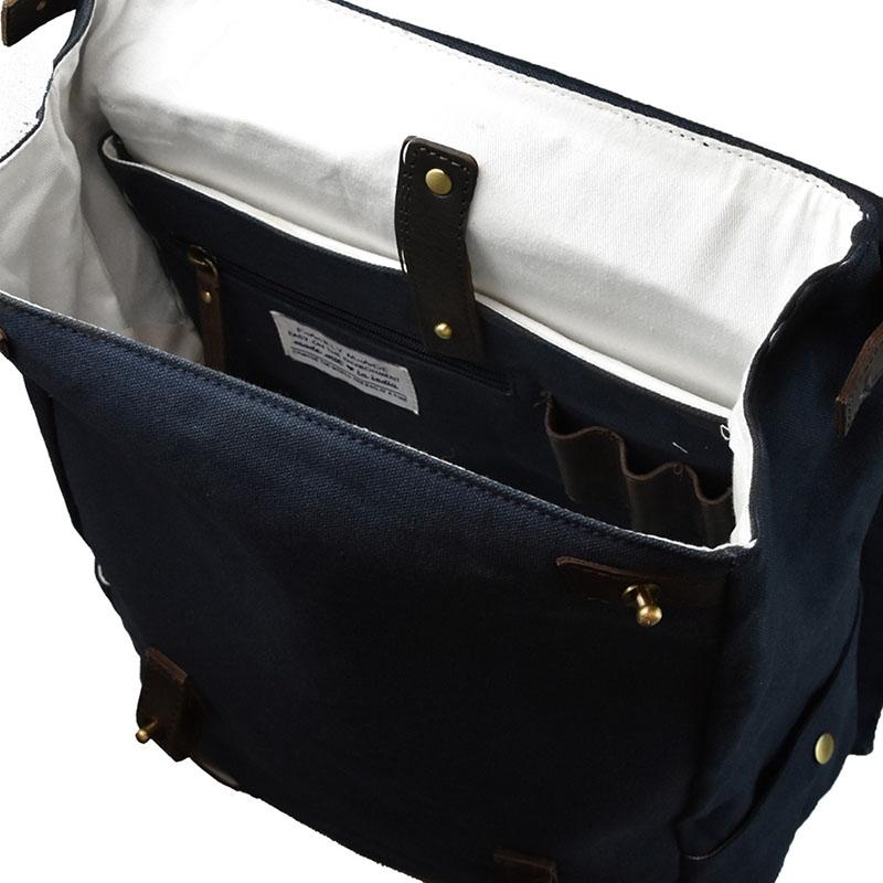 O My Bag Mau's Backpack Navy Waxed / Dark Brown Hunter-179148