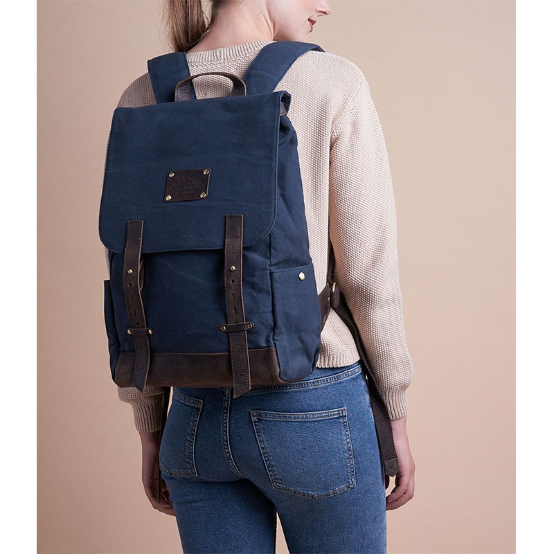 O My Bag Mau's Backpack Navy Waxed / Dark Brown Hunter-179149