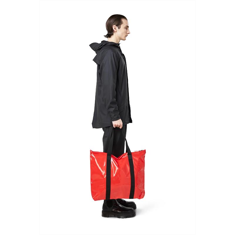 RAINS Transparent Tote Bag Red-176347