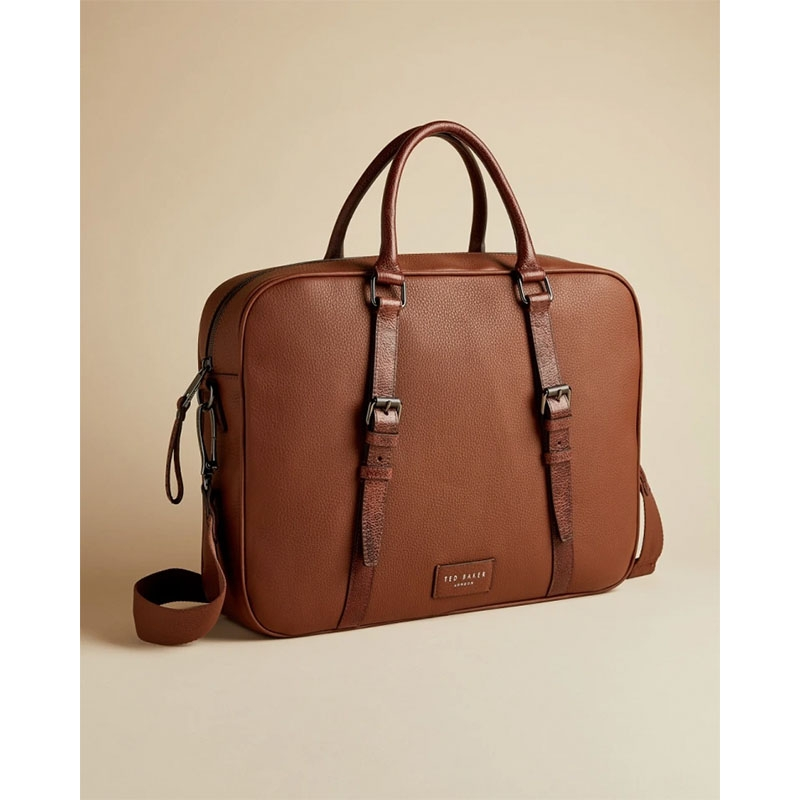 Ted Baker Hooston Leather Document Bag Brown-179202