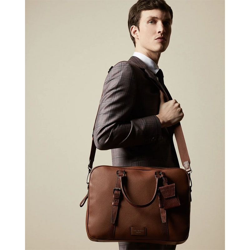 Ted Baker Hooston Leather Document Bag Brown-179203