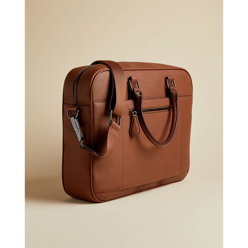 Ted Baker Hooston Leather Document Bag Brown-179205