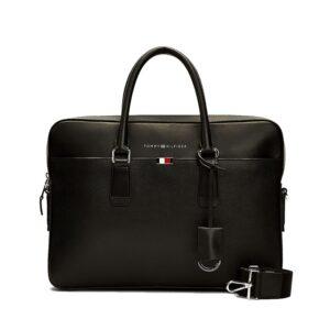 Tommy Hilfiger Business Leather Slim Computer Bag Black-0