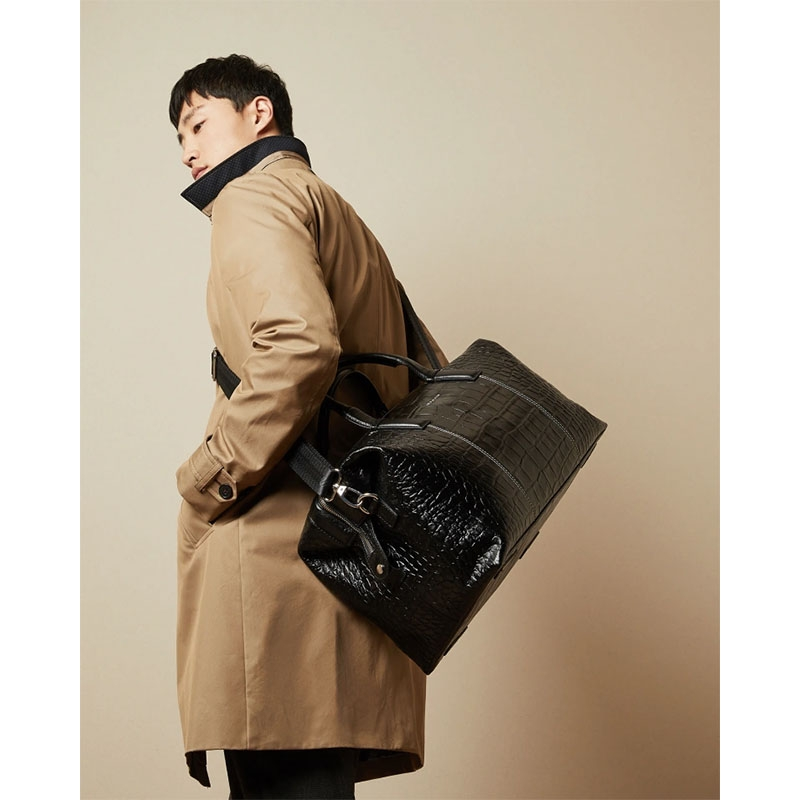 Ted Baker Donk Croc Leather Holdall Black-179899