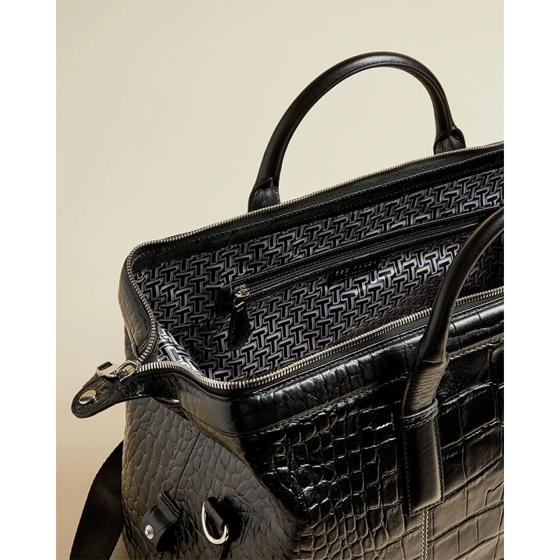 Ted Baker Donk Croc Leather Holdall Black-179898