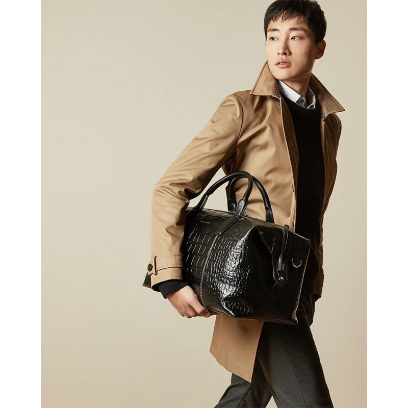 Ted Baker Donk Croc Leather Holdall Black-179900