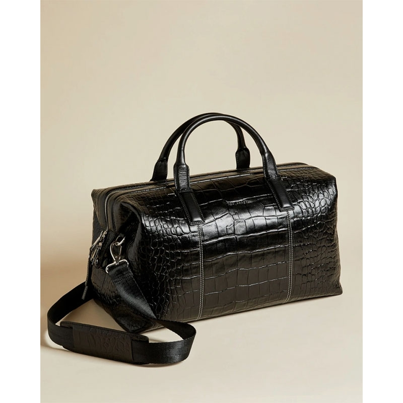 Ted Baker Donk Croc Leather Holdall Black-179901