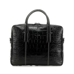 Ted Baker Nugeet Croc Leather Document Bag Black-0