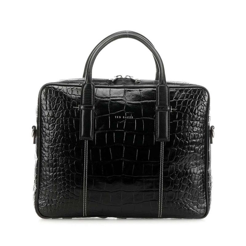 Ted Baker Nugeet Croc Leather Document Bag Black-0