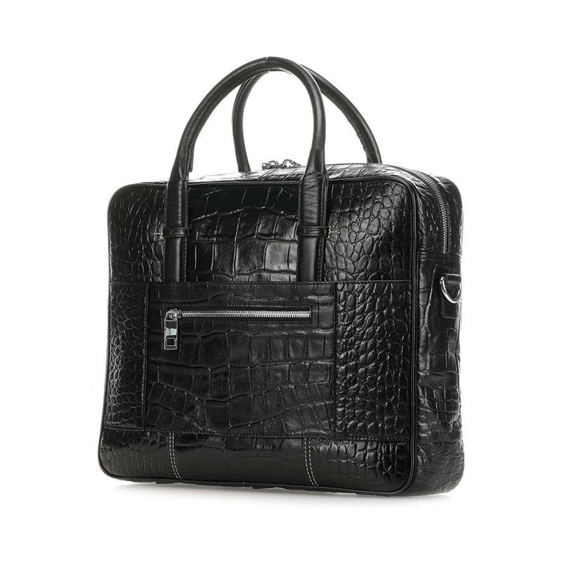 Ted Baker Nugeet Croc Leather Document Bag Black-179887