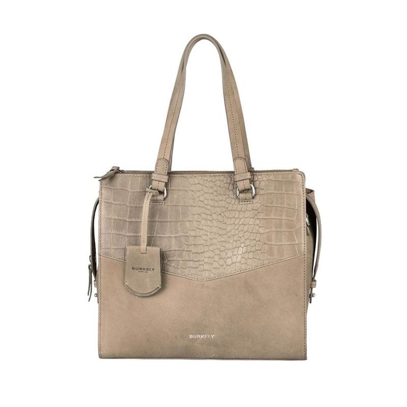 Burkely Croco Cody Handbag Medium Dark Grey-0