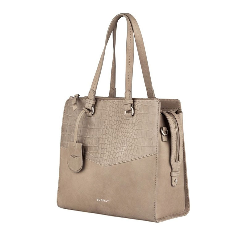Burkely Croco Cody Handbag Medium Dark Grey-178654
