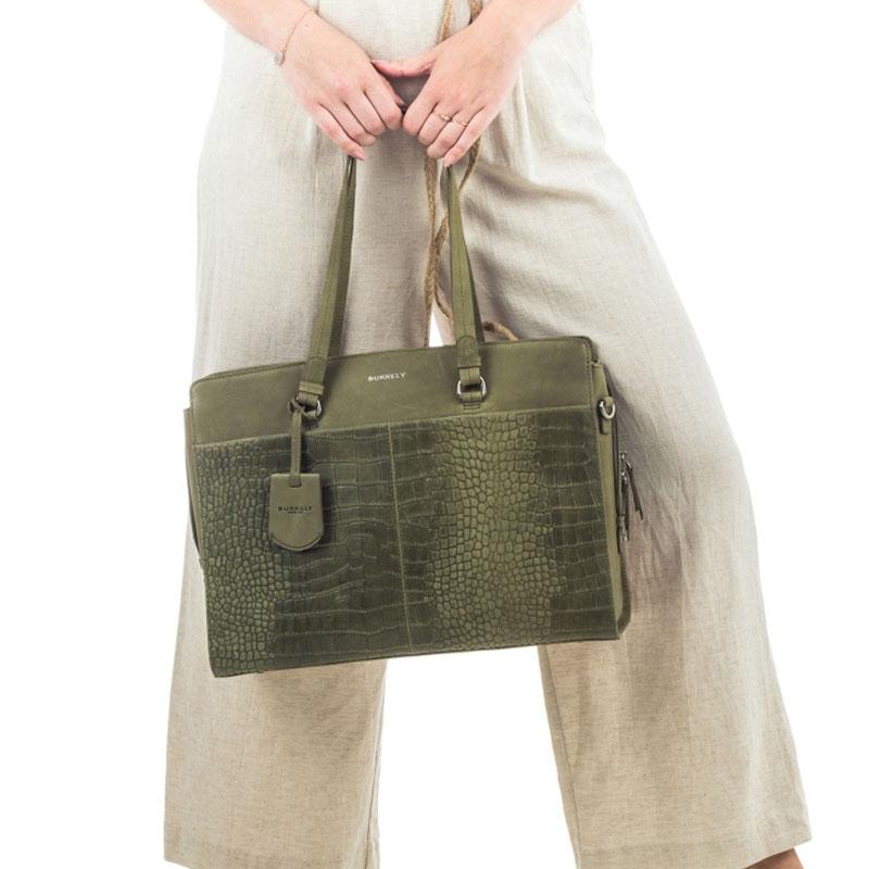 "Burkely Croco Cody Workbag 15"" Light Green-178644"