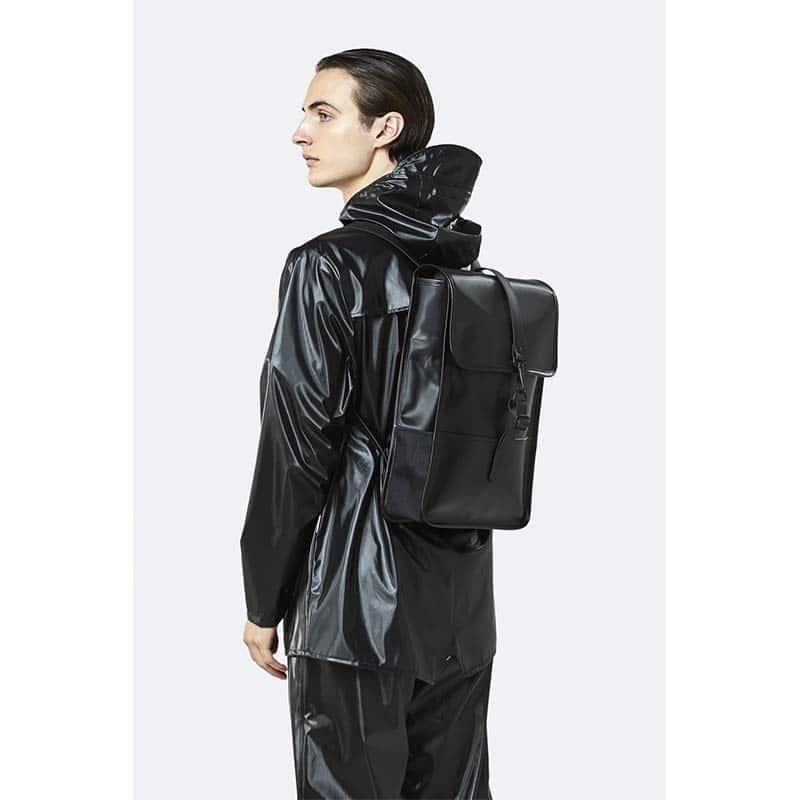 RAINS Backpack Mini Shiny Black-184144