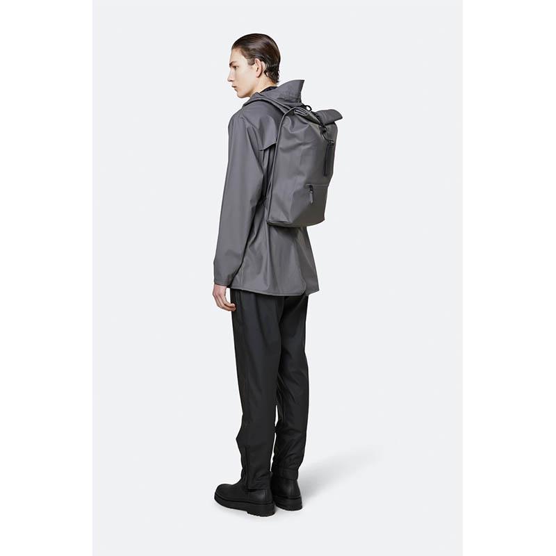 RAINS Roll Top Backpack Charcoal-184155