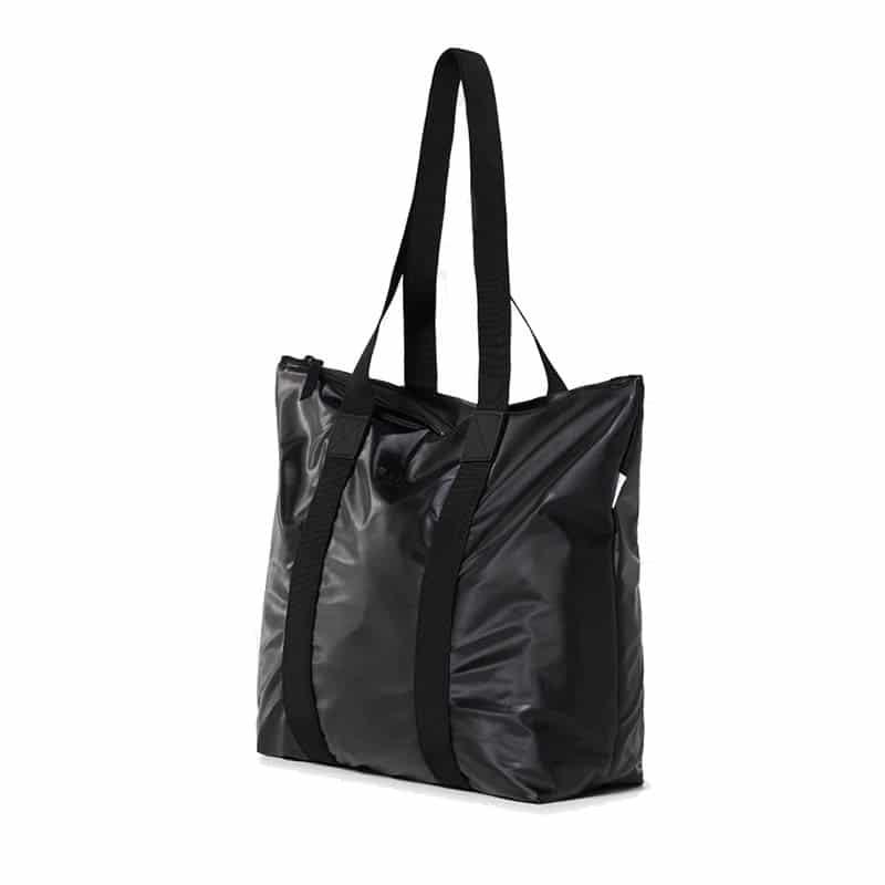 RAINS Tote Bag Rush Shiny Black-184128