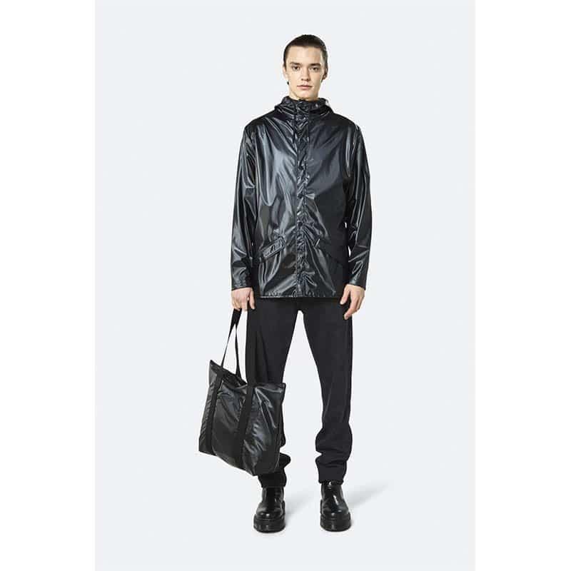 RAINS Tote Bag Rush Shiny Black-184129